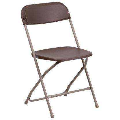 Brown Folding Plastic/Metal Chair