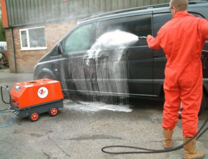 Electric & Paraffin Hot Water Pressure Washer - In Action 1