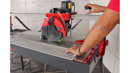 Electric Tile Cutter (Overhead Rail DC-250 1200) In Action - 2