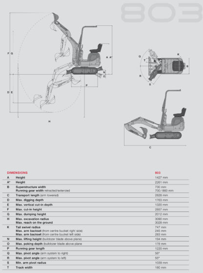 Mini Excavator Digger 1.0 Tonne Specifications