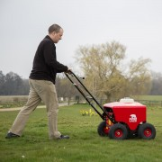 Petrol Lawn Aerator / Plugger / Spiker – In Action 1