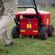 Petrol Lawn Aerator / Plugger / Spiker – In Action 2