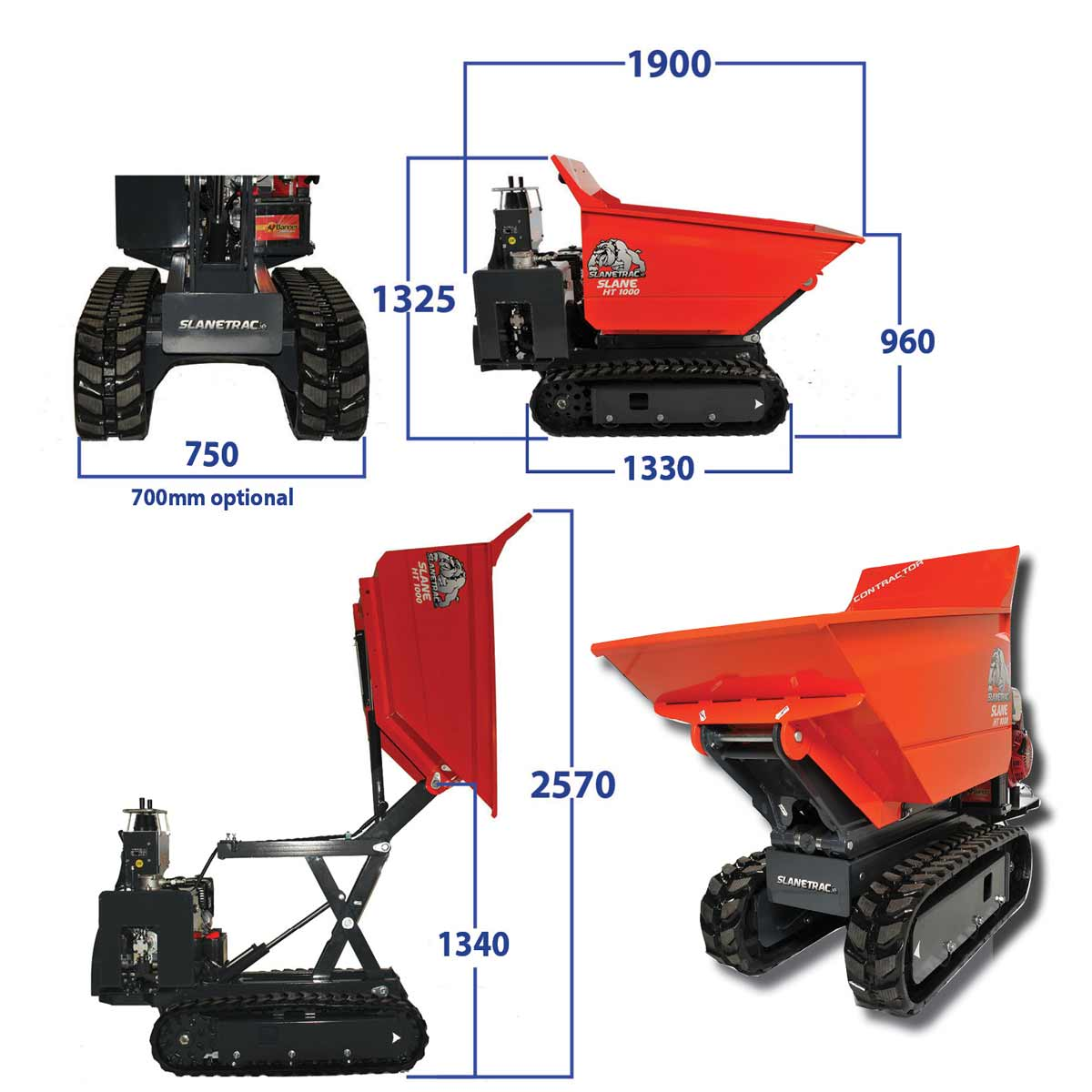 1 Tonne Tracked Skip Loader / Dumper - Specifications