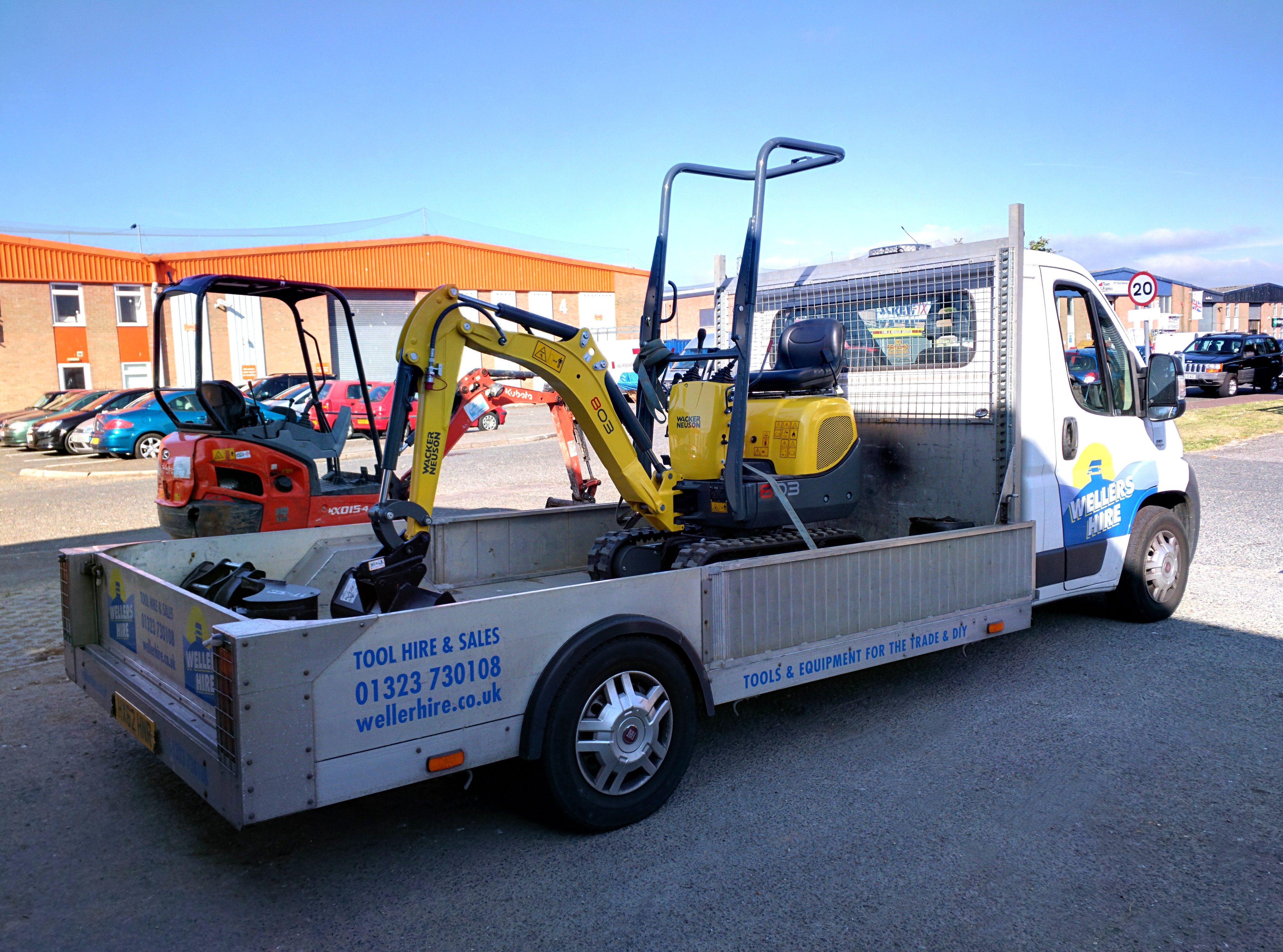Wellers Hire Delivery Lorry with Mini Excavator